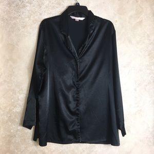 Victoria's Secret Size Large Black Satin Sleep Top